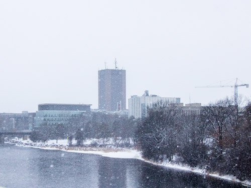 A view of campus on a snowy day