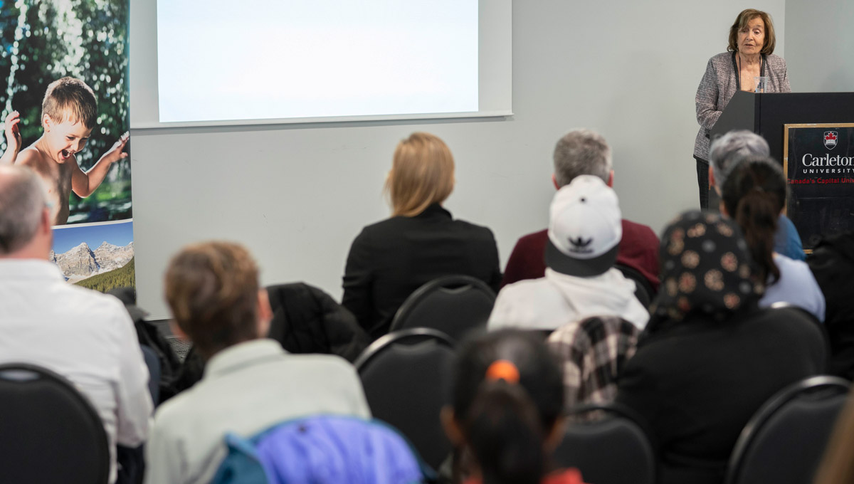 Prof. Frances Henry speaks at a March 22, 2019 event called Water Quality: Women Do Most of the Work!
