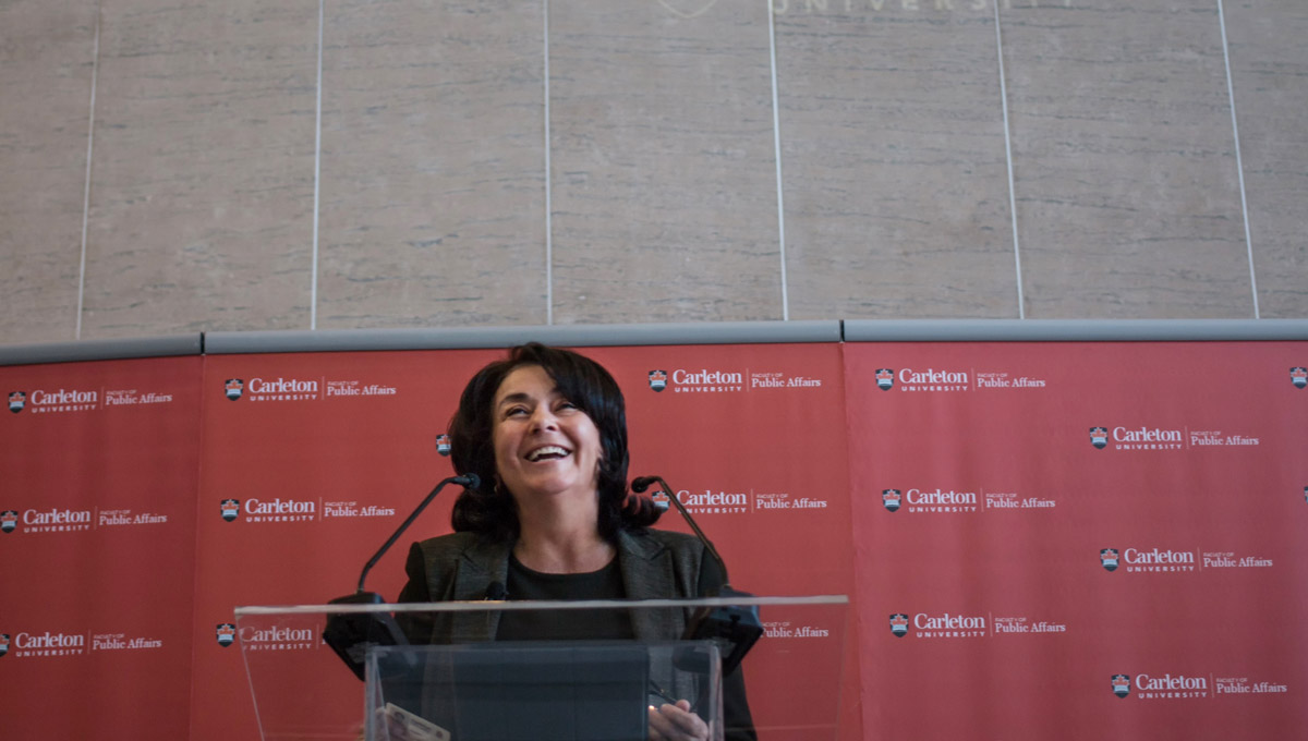 Carleton Chancellor Yaprak Baltacioğlu spoke to students at the Faculty of Public Affairs' Emerging Perspectives Graduate Conference on March 4, 2019.