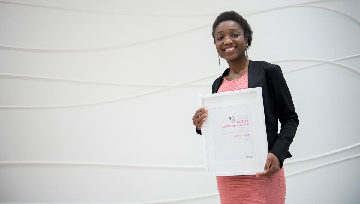 Mawuena Torkornoo, director of Virtual Ventures, accepts Actua Award